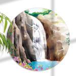 pj256-대형원형아크릴액자_돈들어오는폭포그림