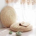 라탄 해초 왕골 짚 원형 대형 핸드메이드 방석