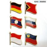 휘날리는 국기뱃지(독일, 동티모르, 러시아, 인도네시아, 리히텐슈타인, 라오스)