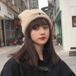 로이키 귀여운 고양이귀 니트 비니 모자