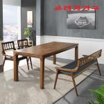번버리 고무나무 원목 4인 식탁+벤치의자 세트
