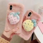 아이폰11 프로 맥스 XR X 7 딸기 파인 밍크털 케이스