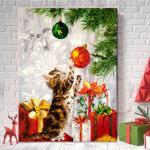 거실인테리어액자 크리스마스 고양이 캔버스액자hc(03)