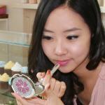 크리스탈스톤 핑크플라워 미니원형 콤팩트거울