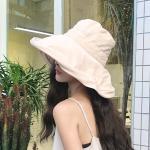 후잉 여성 넓은 와이드 자외선차단 버킷햇