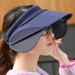 여성 자외선차단 썬캡 각도조절 등산 날개 선캡 모자
