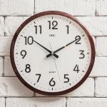 오리엔트 무소음 OT797 샤인브라운 인테리어벽시계