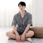 테라우드 남성용 빅체크 원포켓 반팔 잠옷 상하세트