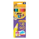 BIC 빅 슈퍼 소프트 점보 크레파스 색연필  8색 (연필깎기 내장)