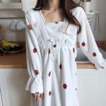 밍크 딸기 롱 원피스 잠옷 극세사 원피스 수면 잠옷