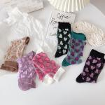 러브미 여성 여름 투명 하트 시스루 패션양말