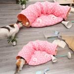 바우미우펫 귀염 고양이 벨벳 놀이터 터널 방석쿠션