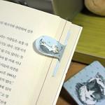 [플라스틱&자석 자동책갈피수지인] 써니고양이(블루)