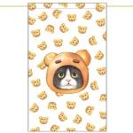 노렌(입구커튼) - 곰돌이빵고양이 (51X81cm)