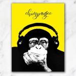 옐로우 헤드셋 침팬지 팝아트 인테리어액자5