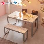 스틸마블 4인용 식탁테이블 1200x800+벤치의자세트