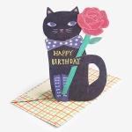 [인디고샵] 꽃을 든 고양이 블랙 입체 스탠딩 카드