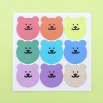 [한톨상점]큰얼굴 반곰이 스티커(원색/파스텔)