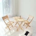 [벤트리] 원목 접이식 미니 카페 테이블&의자 세트
