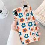 아이폰X XS 플라워 패턴 스트랩 실리콘 휴대폰 케이스