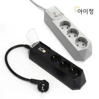 아이정 고용량 배선차단 멀티탭 3구 30CM 블랙