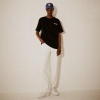 모던 백 전사프린트 티셔츠(남여공용) 블랙