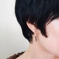 14K 반 큐빅 타원 링 원터치 귀걸이