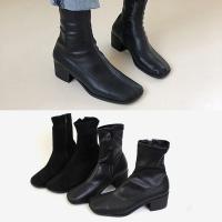 [애슬릿]스퀘어 여성 스판 삭스 앵클 부츠 5cm