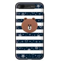 라인프렌즈 iPhone7 + BROWN Stripe-N LIGHT CASE