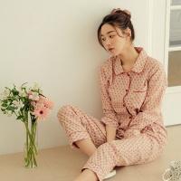 [쿠비카]플라워 프린팅 면 투피스 여성잠옷 W713