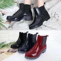 [애슬릿]여성 PVC 미들 첼시 레인 부츠 4.5cm