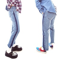 Side Color blocking Jeans(unisex)