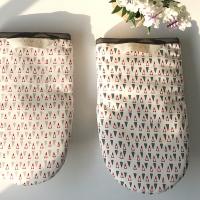 홈스토랑 삼각 패턴 면 주방장갑(B타입-네이비)