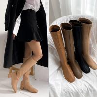 [애슬릿]청키 힐 스퀘어 여성 미들 롱 부츠 4cm