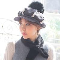 방울 무스탕 헌팅캡 모자