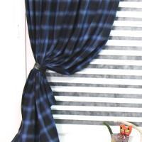 [정사이즈특가]블랙기모 쉐딩체크 커튼-블루 280*150