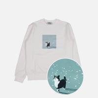 꽃잎고양이 기모 맨투맨 티셔츠-화이트
