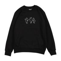 댄싱캣 기모 맨투맨 - 블랙