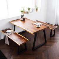 [채우리] 모두 와이드 4인 뉴송 우드슬랩 식탁세트(벤치)