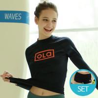 [OLA]올라 여성 래쉬가드세트 블랙+보드숏 비치웨어/수영복/써핑/SET/한벌세트
