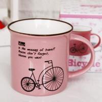 빈티지 핑크 자전거 머그 1개