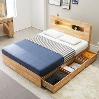 [노하우] 리피 LED 고무나무원목 3단 수납 침대 Q