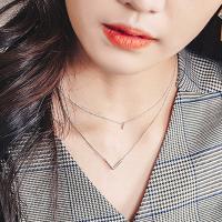 [폴앤조이] 브이엣지 두줄 목걸이 (2color)