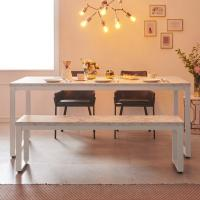 스틸마블 6인용 식탁테이블 1800x600+벤치의자세트