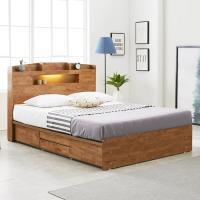 [노하우] 네이처 고무나무원목 LED 4서랍 침대 Q
