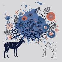 DIY 명화그리기키트 - 행복한 사슴커플 25x25cm (물감2배, 컬러캔버스, 명화, 동물, 사슴, 커플)