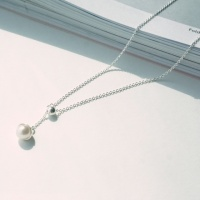 silver pearl drop anklet