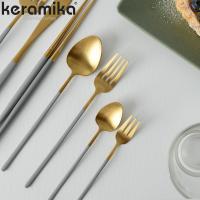 케라미카 골드 커트러리 양식기 디저트 4P세트 6컬러