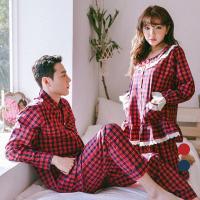 [쿠비카]배색체크 순면 라운드 투피스 커플잠옷 WM148