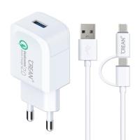 크레앙 퀄컴 퀵차지2.0 충전기+C타입 USB 2in1 케이블